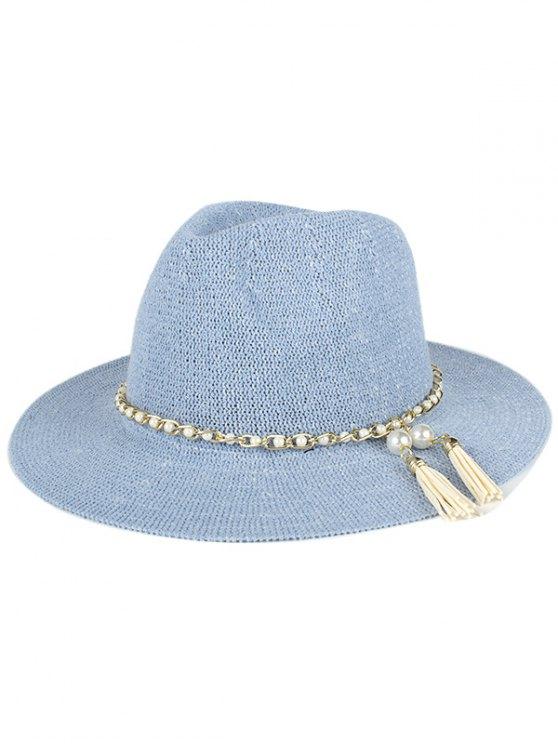 hot Faux Pearl Tassel Sun Hat - LIGHT BLUE