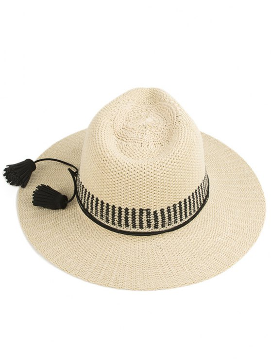 Tassel Lace-Up Sun Hat - OFF-WHITE  Mobile