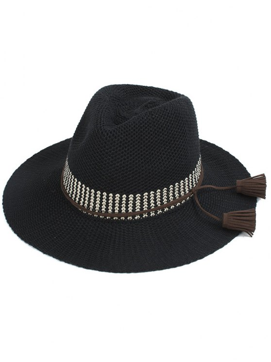 Tassel Lace-Up Sun Hat - BLACK  Mobile