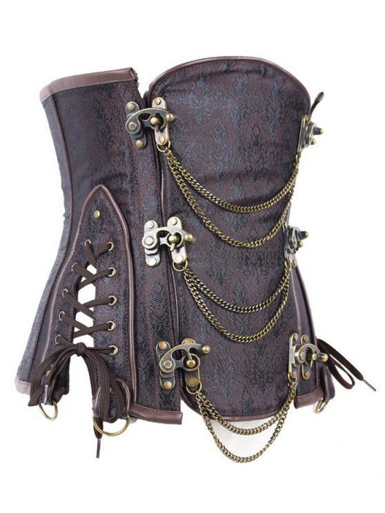 Vintage Jacquard Metallic Corset - BROWN XL Mobile