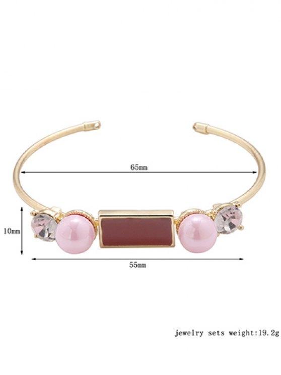 Rectangle Faux Pearl Bracelet - GOLDEN  Mobile