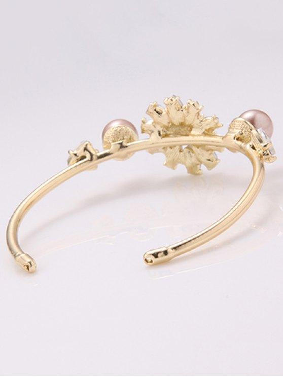 Faux Crystal Triangle Flower Bracelet -   Mobile