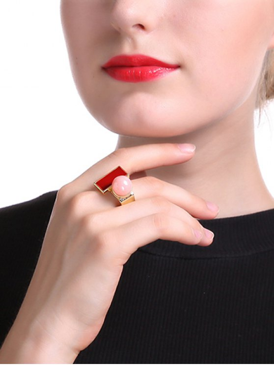 trendy Fake Pearl Rectangle Ring - GOLDEN ONE-SIZE