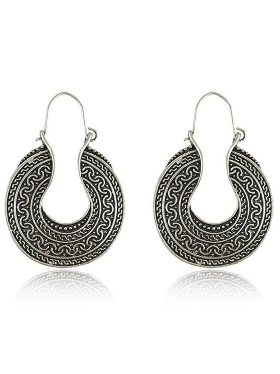 Engraved Round Drop Earrings - SILVER  Mobile