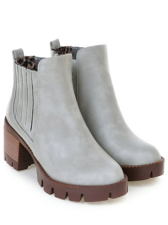 Stitching Elastic Band Platform Ankle Boots - GRAY 39 Mobile