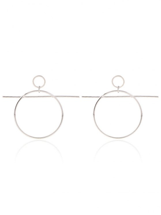 trendy Circle Bar Drop Earrings - SILVER