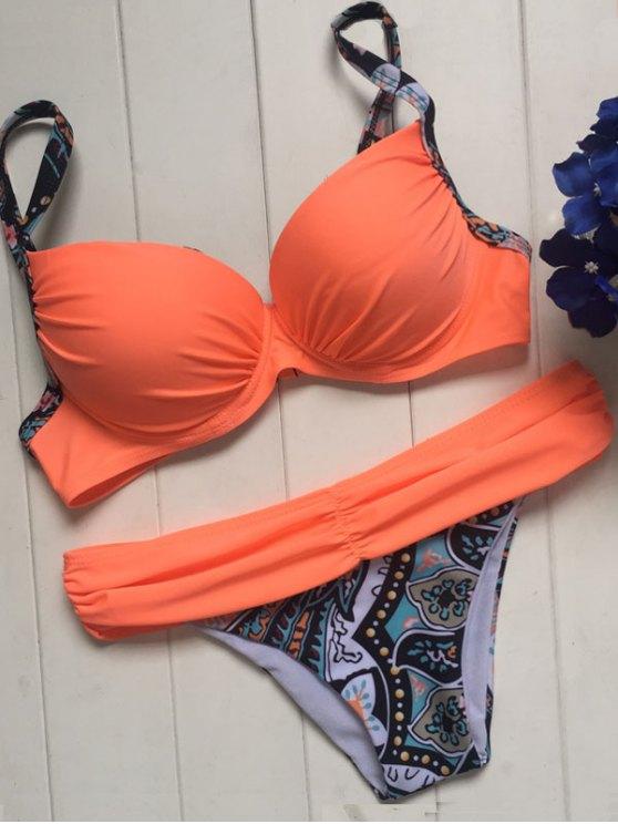 Impreso de correas espaguetis con aros Set Bikini - Naranja S