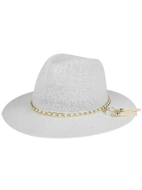 outfits Faux Pearl Tassel Sun Hat - WHITE  Mobile