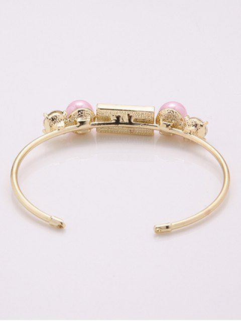 chic Rectangle Faux Pearl Bracelet - GOLDEN  Mobile