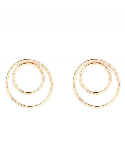 women's Minimalist Design Circles Earrings - GOLDEN  Mobile