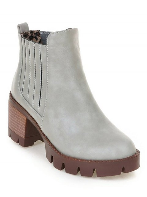 buy Stitching Elastic Band Platform Ankle Boots - GRAY 39 Mobile