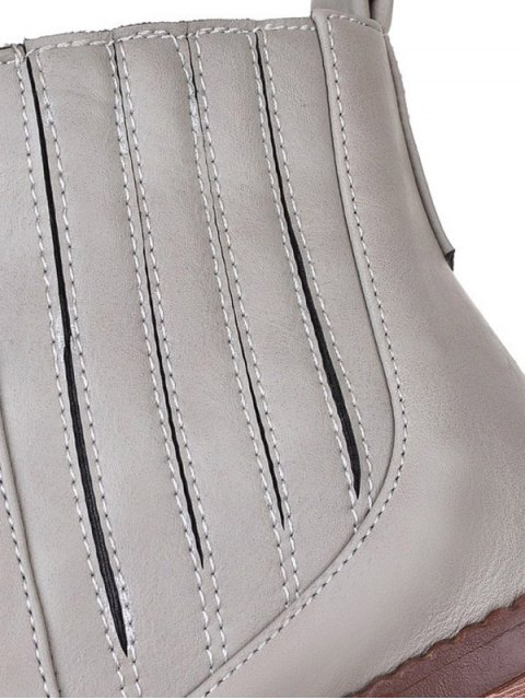 women Stitching Elastic Band Platform Ankle Boots - GRAY 38 Mobile