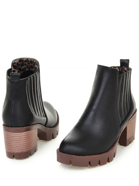 best Stitching Elastic Band Platform Ankle Boots - BLACK 39 Mobile