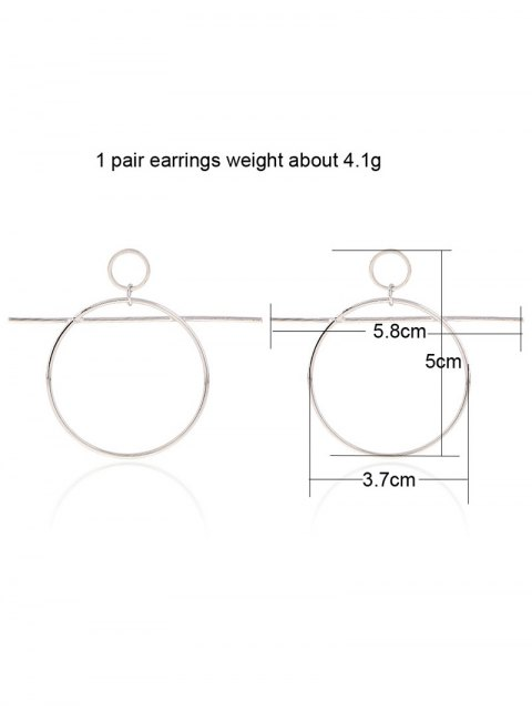 trendy Circle Bar Drop Earrings - SILVER  Mobile
