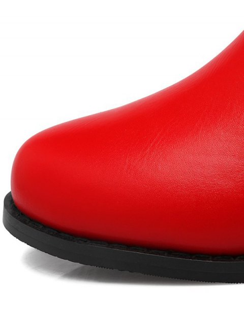 latest Metal Rivets Zipper Round Toe Ankle Boots - RED 38 Mobile