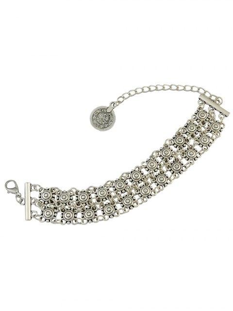 womens Vintage Hollowed Coin Bracelet - SILVER  Mobile