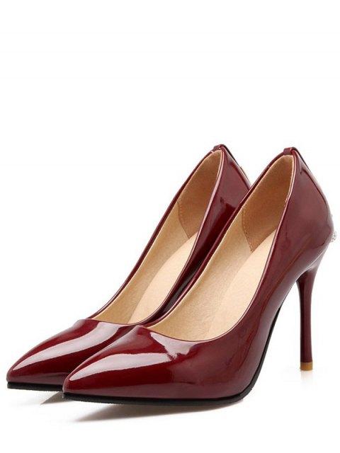 women Metal Rhinestones Stiletto Heel Pumps - WINE RED 39 Mobile