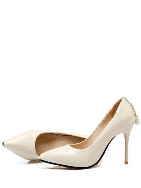 lady Metal Rhinestones Stiletto Heel Pumps - OFF-WHITE 39 Mobile
