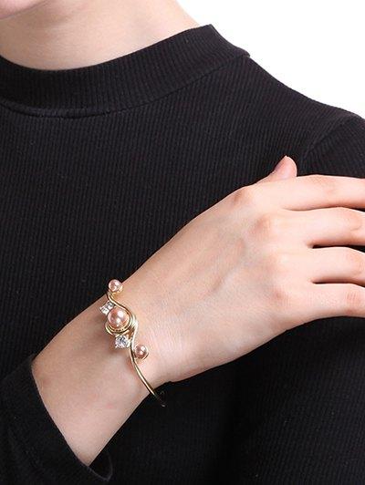 Rhinestone Faux Pearl Cuff Bracelet - GOLDEN  Mobile