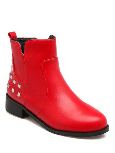 Metal Rivets Zipper Round Toe Ankle Boots - RED 38 Mobile