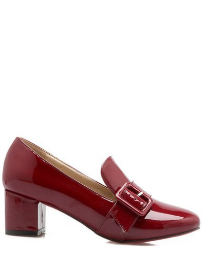 Patent Leather Buckle Solid Color Pumps - WINE RED 37 Mobile