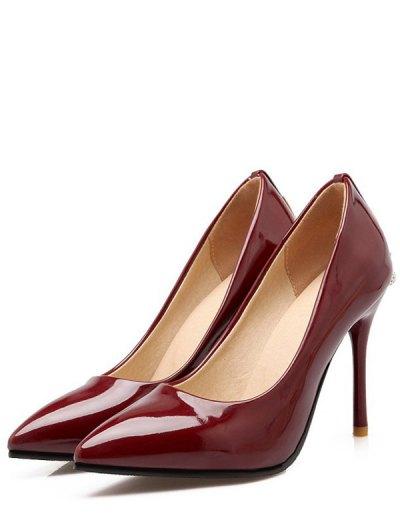 Metal Rhinestones Stiletto Heel Pumps - WINE RED 39 Mobile