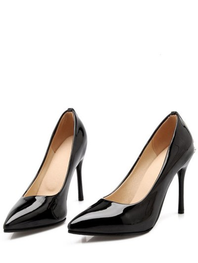 Metal Rhinestones Stiletto Heel Pumps - BLACK 38 Mobile