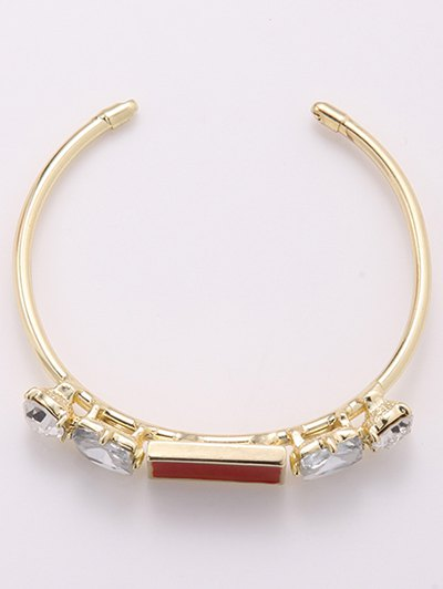 Faux Crystal Cuff Bracelet - GOLDEN  Mobile