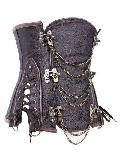 Vintage Jacquard Metallic Corset - BROWN L Mobile