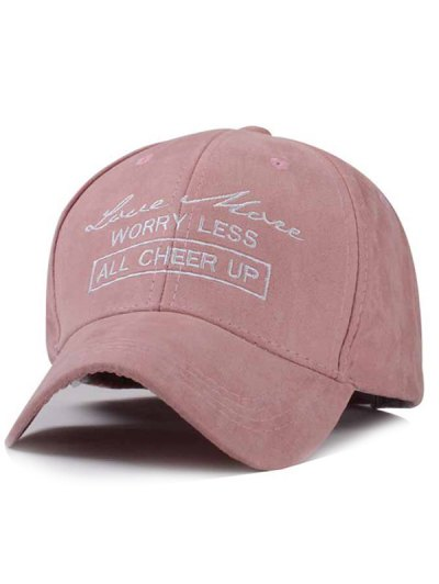 Letter Faux Suede Baseball Hat - Pink