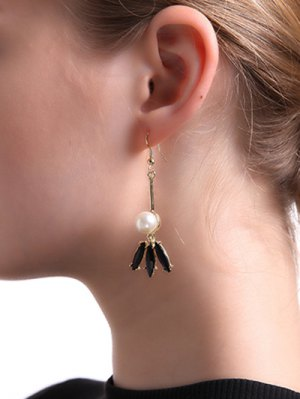Faux Pearl Pendant Earrings - Golden