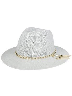 Faux Pearl Tassel Sun Hat - White