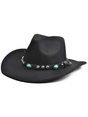 Rivet Belt Faux Suede Cowboy Hat - Black