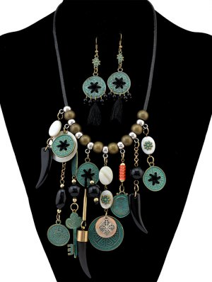 Gypsy Style Necklace And Earrings - Black