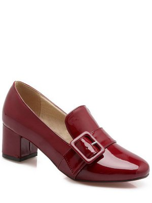 Patent Leather Buckle Solid Color Pumps - Wine Red
