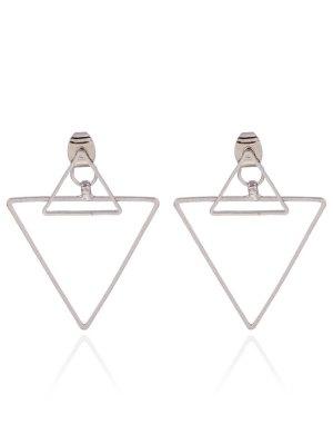 Hollowed Triangle Punk Ear Jackets - Silver