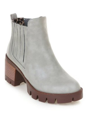 Stitching Elastic Band Platform Ankle Boots - Gray