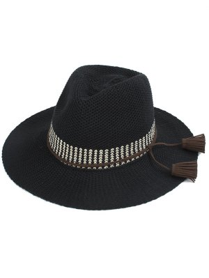 Tassel Lace-Up Sun Hat - Black