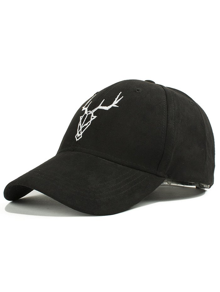 Elk Head Embroidery Faux Suede Baseball Hat