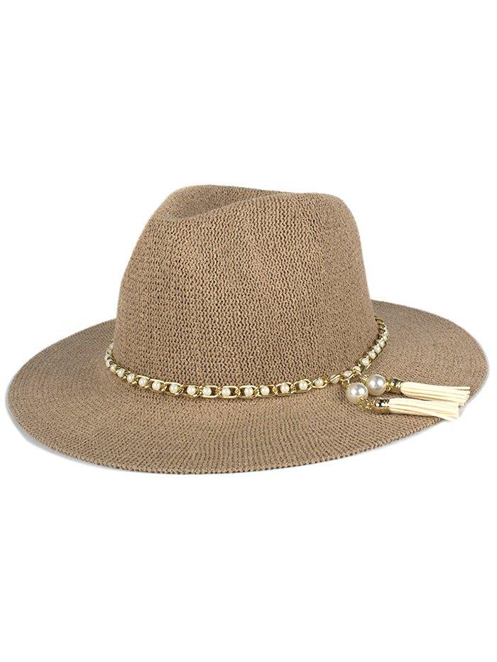 Faux Pearl Tassel Chain Anti-UV Jazz Sun Hat For Women