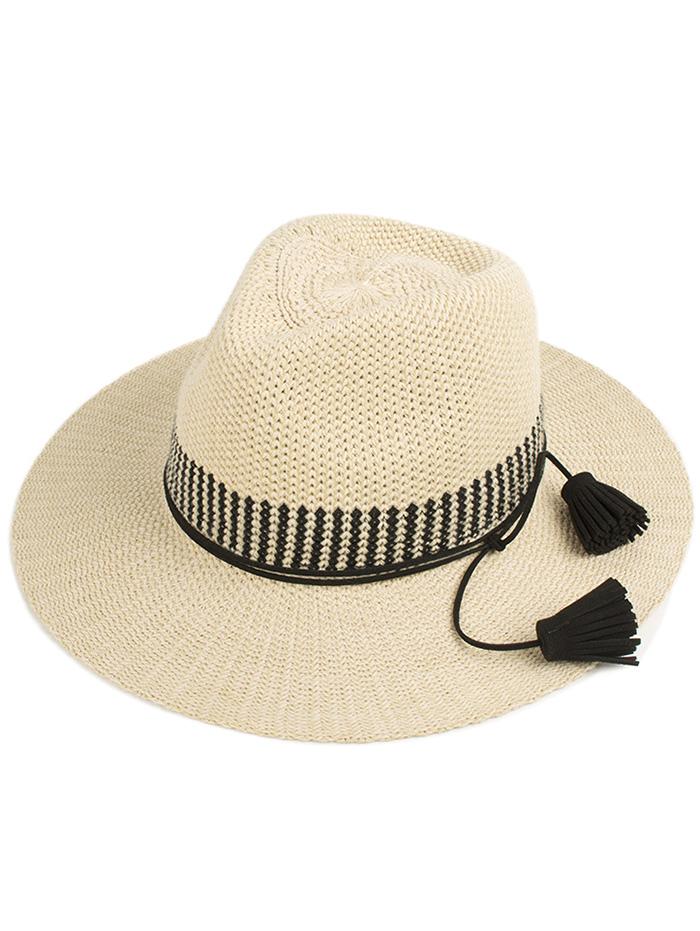 Tassel Pendant Lace-Up Anti-UV Jazz Sun Hat For Women