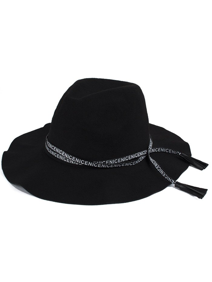 Letters Lace-Up Faux Suede Black Jazz Hat For Women
