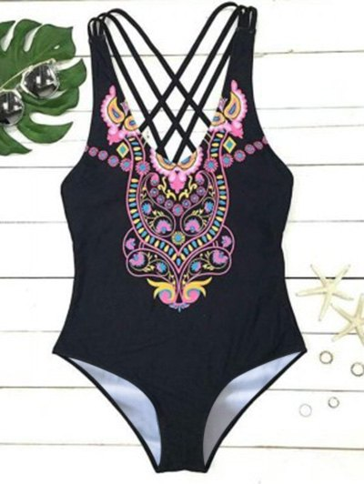 Printed High Cut Strappy One Piece Swimwear