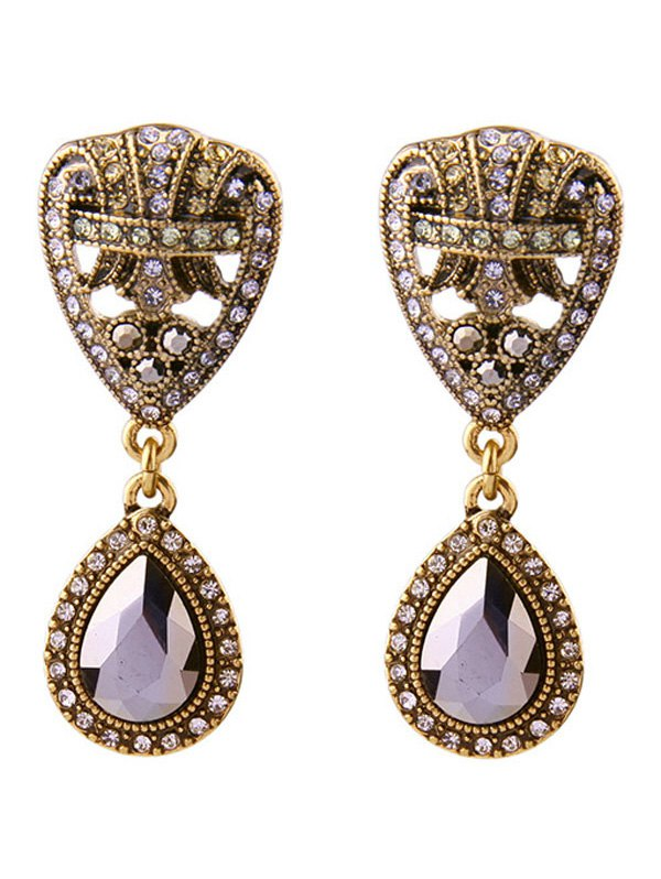 Rhinestone Teardrop Faux Gem Earrings