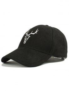 Elk Head Faux Suede Baseball Hat - Black