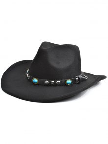 Rivet Belt Faux Suede Cowboy Hat - Noir