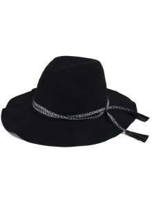 Lettres Lace-Up Black Jazz Hat - Noir