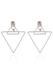 Hollowed Triangle Punk Ear Jackets - Silver