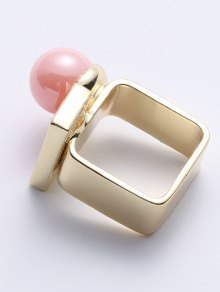 Fake Pearl Rectangle Ring - GOLDEN ONE-SIZE