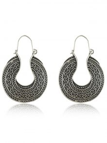 Engraved Round Drop Earrings - Silver